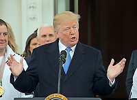 United States President Donald J. Trump hosts a celebration for Team USA at the White House in Washington, DC on Friday, April 27, 2018.<br /> Credit: Ron Sachs / CNP /MediaPunch