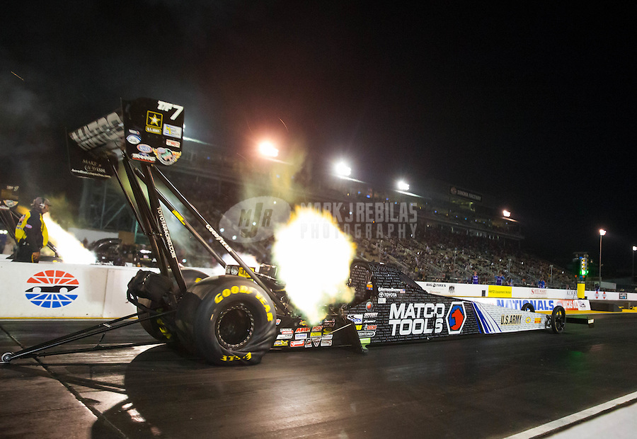 Jul 31, 2015; Sonoma, CA, USA; NHRA top fuel driver Antron Brown during qualifying for the Sonoma Nationals at Sonoma Raceway. Mandatory Credit: Mark J. Rebilas-