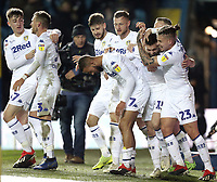 Leeds United's Stuart Dallas (2nd right) is mobbed by team-mates as he celebrates scoring the opening goal <br /> <br /> Photographer Rich Linley/CameraSport<br /> <br /> The EFL Sky Bet Championship - Leeds United v Reading - Tuesday 27th November 2018 - Elland Road - Leeds<br /> <br /> World Copyright &copy; 2018 CameraSport. All rights reserved. 43 Linden Ave. Countesthorpe. Leicester. England. LE8 5PG - Tel: +44 (0) 116 277 4147 - admin@camerasport.com - www.camerasport.com
