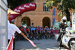 The start of the 2020 Strade Bianche Elite Women running 136km from Fortezza Medicea Siena to Piazza del Campo Siena, Italy. 1st August 2020.<br /> Picture: LaPresse/Gian Mattia D'Alberto   Cyclefile<br /> <br /> All photos usage must carry mandatory copyright credit (© Cyclefile   LaPresse/Gian Mattia D'Alberto)
