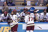 Mike Cavanaugh,Matt Price (Boston College - Milton, ON), Benn Ferriero (Boston College - Essex, MA), Pat Gannon (Boston College - Arlington, MA), Ben Smith (Boston College - Avon, CT), Joe Rooney (Boston College - Canton, MA), Nathan Gerbe (Boston College - Oxford, MI), Kyle Kucharski (Boston College - Saugus, MA) - The Boston College Eagles defeated the University of North Dakota Fighting Sioux 6-4 in their 2007 Frozen Four semi-final on Thursday, April 5, 2007, at the Scottrade Center in St. Louis, Missouri.