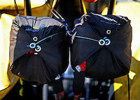 Jul. 17, 2010; Sonoma, CA, USA; Detailed view of the dual parachutes on an NHRA top fuel dragster during qualifying for the Fram Autolite Nationals at Infineon Raceway. Mandatory Credit: Mark J. Rebilas-