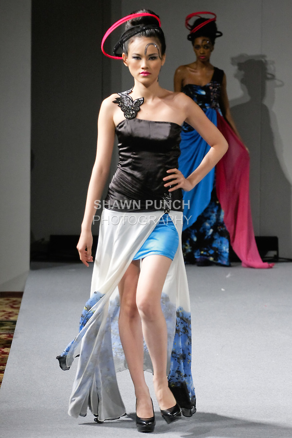 Tuyt Lan, Vietnam's Next Top Model 2010 walks the runway in an outfit from Sushma Patel Fall 2012 collection, during Couture Fashion Week New York, February 17, 2012.