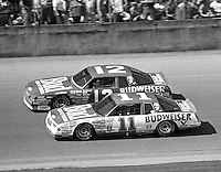 Darrell Waltrip 11 Neil Bonnett 12 action Daytona 500 at Daytona International Speedway in Daytona Beach, FL in February 1986. (Photo by Brian Cleary/www.bcpix.com) Daytona 500, Daytona International Speedway, Daytona Beach, FL, February 16, 1986.  (Photo by Brian Cleary/www.bcpix.com)