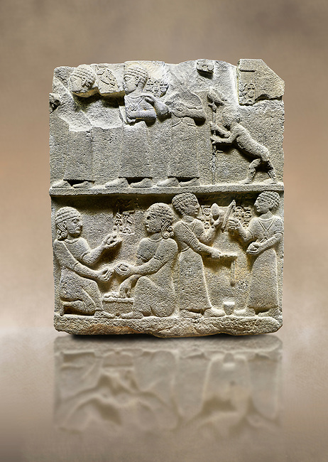 "Photo of Hittite monumental relief sculpted orthostat stone panel of Royal Buttress. Basalt, Karkamıs, (Kargamıs), Carchemish (Karkemish), 900 - 700 B.C. Anatolian Civilisations Museum, Ankara, Turkey.<br /> <br /> This panels scene showing 8 out of 10 children of the King, the hieroglyphs reads as follows: ""Malitispas, Astitarhunzas, Tamitispas,Isikaritispas, Sikaras, Halpawaris, Ya hilatispas"". Above, there are three figures holding knucklebones (astragalus) and one figure walking by leaning on a stick; below are two each figures playing the knucklebones and turning whirligigs.  <br /> <br /> Against a brown art background."