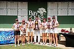 HOUSTON, TX - MAY 19: The University of Indianapolis celebrates with the team championship trophy during the Division II Women's Golf Championship held at Bay Oaks Country Club on May 19, 2018 in Houston, Texas. (Photo by Justin Tafoya/NCAA Photos via Getty Images)