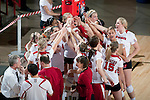 Wisconsin Badgers huddle during an NCAA volleyball match against the Michigan Wolverines at the Field House on October 30, 2010 in Madison, Wisconsin. Michigan won the match 3-1. (Photo by David Stluka)