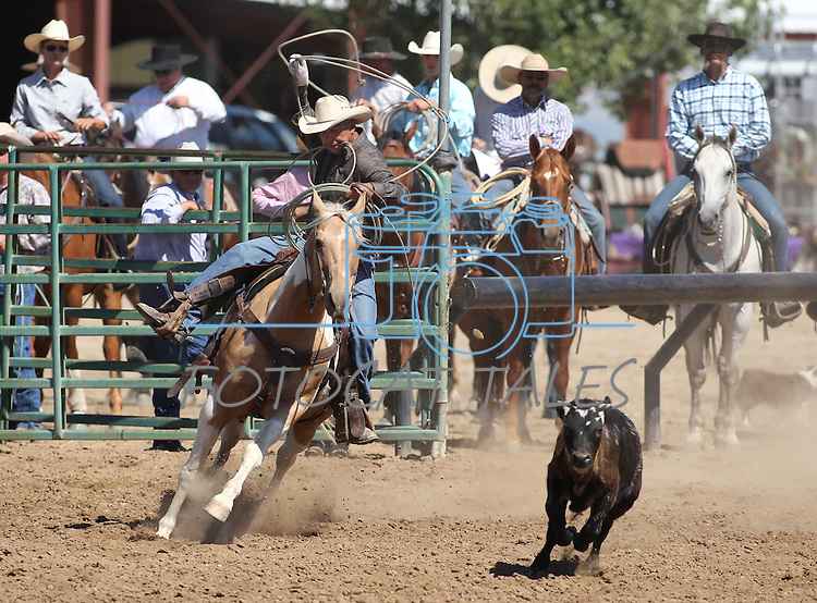 Travis Britton competes in the calf roping event at the Minden Ranch Rodeo on Sunday, July 24, 2011, in Gardnerville, Nev. .Photo by Cathleen Allison