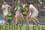 Bryan Sheehan, Kerry in action against Mark Winters Tyrone in the fourth round of the National Football league at Fitzgerald Stadium, Killarney on Sunday.