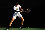 WINSTON SALEM, NC - MAY 22: Alan Gadjiev of the Wake Forest Demon Deacons hits a backhand against the Ohio State Buckeyes during the Division I Men's Tennis Championship held at the Wake Forest Tennis Center on the Wake Forest University campus on May 22, 2018 in Winston Salem, North Carolina. (Photo by Jamie Schwaberow/NCAA Photos via Getty Images)