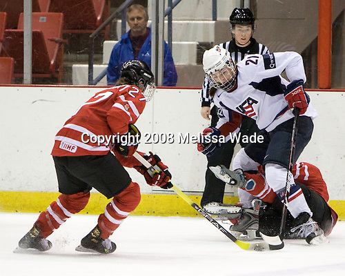 Gina Kingsbury (Canada - 27), Hilary Knight (US - 21), ? - Team USA defeated Team Canada 4-3 (so) to win the 2008 Four Nations Cup on Sunday, November 9, 2008, in the 1980 Rink in Lake Placid, New York.