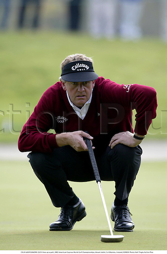 COLIN MONTGOMERIE (SCO) lines up a putt, 2002 American Express World Golf Championships, Mount Juliet, Co Kilkenny, Ireland, 020920. Photo: Neil Tingle/Action Plus...golf golfer player.putts putting.................
