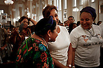 Former Colombian senator Piedad Cordoba, ( R) speaks with Nobel 1992 Peace Prize Laureate Rigoberta Menchu while they attend a mass during the process to receive a group of 10 hostages held for more than 12 years release by FARC members in Villavicencio, Colombia. 27/03/2012.  Photo by Nestor Silva / VIEWpress.