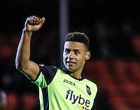 Goalscorer Ollie Watkins of Exeter City salutes the fans during the Sky Bet League 2 match between Crawley Town and Exeter City at Broadfield Stadium, Crawley, England on 28 February 2017. Photo by Carlton Myrie / PRiME Media Images.