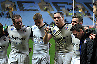 Francois Louw of Bath Rugby speaks to his team-mates after the match. European Rugby Champions Cup match, between Wasps and Bath Rugby on December 13, 2015 at the Ricoh Arena in Coventry, England. Photo by: Patrick Khachfe / Onside Images