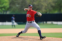 Pitcher Jason Hursh (43) of the Atlanta Braves farm system in a Minor League Spring Training intrasquad game on Wednesday, March 18, 2015, at the ESPN Wide World of Sports Complex in Lake Buena Vista, Florida. (Tom Priddy/Four Seam Images)