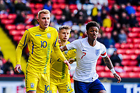 ?Leicester City's forward Demarai Gray (7) for England U21's  marked by Shakhtar Donetsk's midfielder Viktor Kovalenko (10) for Ukraine U21's during the International Euro U21 Qualification match between England U21 and Ukraine U21 at Bramall Lane, Sheffield, England on 27 March 2018. Photo by Stephen Buckley / PRiME Media Images.