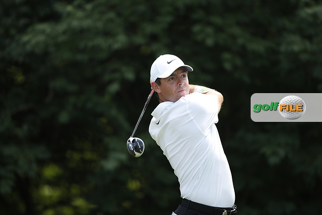 Rory McIlroy (NIR) tees off on the 9th hole during the first round of the 100th PGA Championship at Bellerive Country Club, St. Louis, Missouri, USA. 8/9/2018.<br /> Picture: Golffile.ie | Brian Spurlock<br /> <br /> All photo usage must carry mandatory copyright credit (© Golffile | Brian Spurlock)