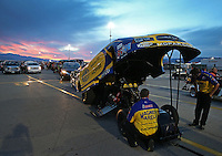 Apr. 5, 2013; Las Vegas, NV, USA: The sun sets behind NHRA funny car driver Matt Hagan in the staging lanes during qualifying for the Summitracing.com Nationals at the Strip at Las Vegas Motor Speedway. Mandatory Credit: Mark J. Rebilas-