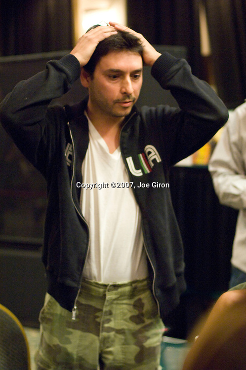Franco Brunetti Eliminated in 16th Place ($34,295).On a flop of 862 Lee Markholt bets 50,000 from the small blind and Joe Sebok calls from middle position. Franco Brunetti moves all in from the button for 98,000 more and both Sebok and Markholt make the call. The 7 hits on the turn and Markholt checks. Sebok bets 140,000 and Markholt folds. Sebok flips over 109 for the gut shot straight and Brunetti turns over pocket nines. Sebok climbs to 1.7 million after the hand. Brunetti is eliminated on 16th place on the hand.