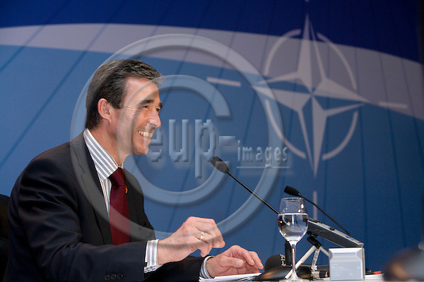 STRASBOURG - FRANCE - 04 APRIL 2008 -- NATO Summit -- The new incoming NATO Secretary-General Anders FOGH RASMUSSEN at his press briefing after the appointment  Photo: Erik Luntang/EUP-IMAGES