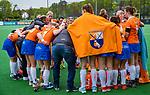 BLOEMENDAAL -   teamoverleg Bl'daal Dames I , Libera hoofdklasse hockey Bloemendaal-Pinoke (0-0). COPYRIGHT KOEN SUYK