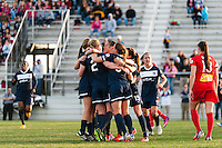 Sky Blue FC celebrate a goal during a National Women's Soccer League (NWSL) match against the Western New York Flash at Yurcak Field in Piscataway, NJ, on April 14, 2013.