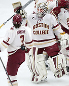 Serena Sommerfield (BC - 3), Katie Burt (BC - 33) -  The Boston College Eagles defeated the University of Vermont Catamounts 4-3 in double overtime in their Hockey East semi-final on Saturday, March 4, 2017, at Walter Brown Arena in Boston, Massachusetts.