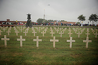 the official start is right in front of one of the many war cemeteries in the region<br /> <br /> 2014 Tour de France<br /> stage 5: Ypres/Ieper (BEL) - Arenberg Porte du Hainaut (155km)