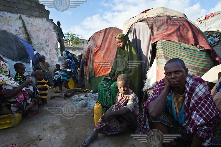 Families at an IDP (internally displaced persons) camp in Mogadishu. The people staying here fled famine in South Somalia.