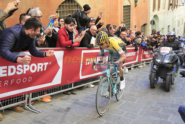 Wout Van Aert (BEL) Team Jumbo-Visma climbs Via Santa Caterina in Siena in the last km of Strade Bianche 2019 running 184km from Siena to Siena, held over the white gravel roads of Tuscany, Italy. 9th March 2019.<br /> Picture: Eoin Clarke | Cyclefile<br /> <br /> <br /> All photos usage must carry mandatory copyright credit (© Cyclefile | Eoin Clarke)