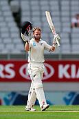 23rd March 2018, Eden Park, Auckland, New Zealand; International Test Cricket, New Zealand versus England, day 2;  Kane Williamson celebrates his 18th test match century