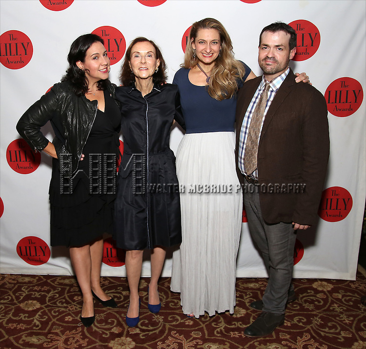 Kristen Anderson-Lopez, Janet Rosen, Sara Wordsworth and Joel Waggoner attends The Lilly Awards Broadway Cabaret at the Cutting Room on October 17, 2016 in New York City.