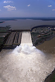 Iguassu, Brazil. Itaipu hydroelectric dam seen from the air.