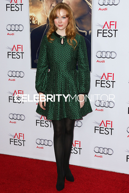 HOLLYWOOD, LOS ANGELES, CA, USA - NOVEMBER 11: Molly Quinn arrives at the AFI FEST 2014 - 'The Homesman' Gala Screening held at the Dolby Theatre on November 11, 2014 in Hollywood, Los Angeles, California, United States. (Photo by Xavier Collin/Celebrity Monitor)