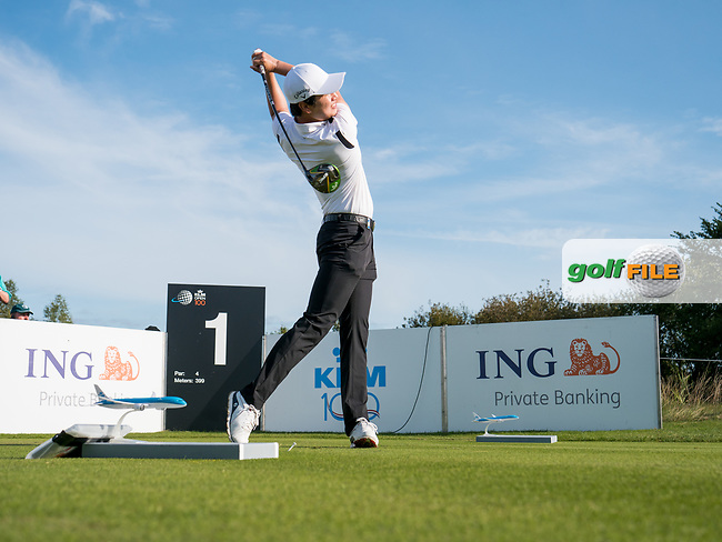 Jeunghun Wang (KOR) in action on the 1st hole during the 3rd round at the KLM Open, The International, Amsterdam, Badhoevedorp, Netherlands. 14/09/19.<br /> Picture Stefano Di Maria / Golffile.ie<br /> <br /> All photo usage must carry mandatory copyright credit (© Golffile | Stefano Di Maria)