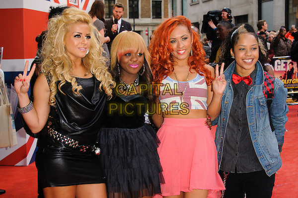 Vida.UK film premiere of 'Fast Girls' at Odeon West End, London, England..June 7th, 2012.half length dress pink band group black white AJ, V.vee, Jade, Che3kz skirt union jack hand v peace sign.CAP/CJ.©Chris Joseph/Capital Pictures.