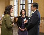 Julie Pully, left, chats with Josephine Esteban and A. Gabriel Esteban, Ph.D., president of DePaul University, during a reception Thursday, July 20, 2017, at The Chicago Club. The event was organized to welcome the Estebans to Chicago and introduce them to some of Chicago&rsquo;s most influential women. <br /> (DePaul University/Jamie Moncrief)
