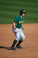 Siena Saints second baseman Jordan Bishop (4) leads off second base during a game against the UCF Knights on February 21, 2016 at Jay Bergman Field in Orlando, Florida.  UCF defeated Siena 11-2.  (Mike Janes/Four Seam Images)