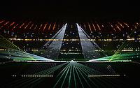 FUSSBALL   1. BUNDESLIGA  SAISON 2012/2013   17. Spieltag FC Bayern Muenchen - Borussia Moenchengladbach    14.12.2012 Der FCB wuenscht Frohe Weihnachten mit einer LASER SHOW in der Allianz Arena