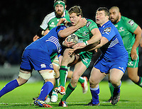 19 December 2014; Guinness Pro12 2014/15, <br /> Connacht's Kieran Marmion is tackled by Jack Conan and Jack McGrath of Leinster.<br /> Leinster v Connacht, RDS, Ballsbridge, Dublin. Picture credit: Tommy Grealy/actionshots.ie