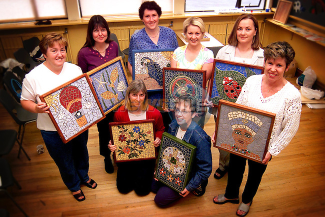 Women who completed the Drogheda Northside Community Partnership Mosaic Art Course. Pictured are back row L/R, Monica McDonnell, Ann McVeigh, Annemarie Keys, Patricia Lynch, Aideen Dunne and Margaret Clarke Reilly. Front L/R, Kirsty McGhie and Fiona Kelly..Picture: Paul Mohan/Newsfile