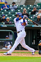 Iowa Cubs shortstop Addison Russell (3) swings at a pitch during a Pacific Coast League game against the San Antonio Missions on May 2, 2019 at Principal Park in Des Moines, Iowa. Iowa defeated San Antonio 8-6. (Brad Krause/Four Seam Images)