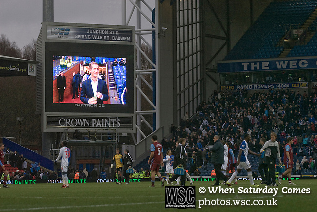 The electronic scoreboard showing two-goal midfielder Morten Gamst Pedersen who was the man-of-the-match as the match between Blackburn Rovers and Aston Villa in the Barclays Premier League at Ewood Park draws to a close. Blackburn won the match by two goals to nil watched by a crowd of 21,848. It was Rovers' first match under the ownership of Indian company Venky's.