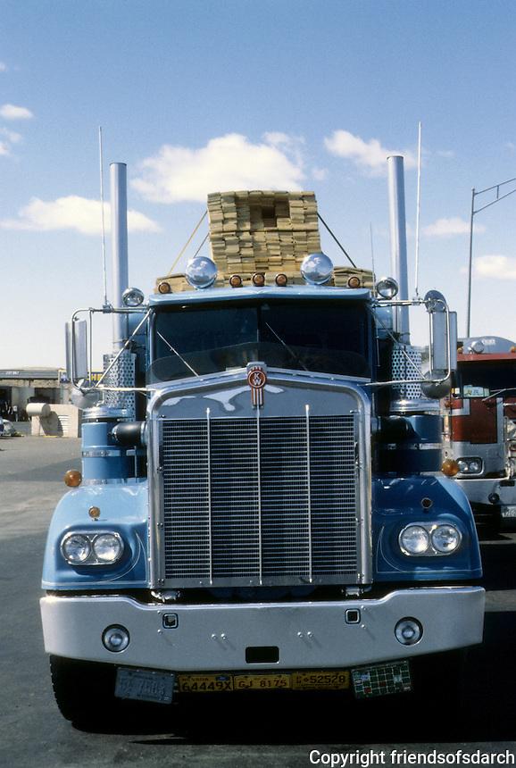Trucks: Tucumcari Truck Stop, NM.  1980.