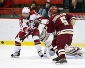 Daniel Moriarty (Harvard - 11), Philip Samuelsson (BC - 5) - The Boston College Eagles defeated the Harvard University Crimson 3-2 on Wednesday, December 9, 2009, at Bright Hockey Center in Cambridge, Massachusetts.