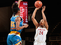 Stanford, CA - February 6, 2017:  Erica McCall at Maples Pavilion. The Stanford Cardinal lost to UCLA, 85-76