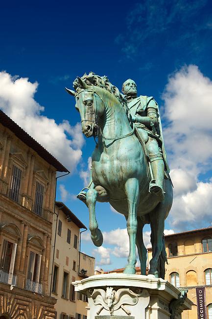 """The """"bronze equestrian statue of Cosimo I"""" by Giambologna (1594), Piazza della Signoria in Florence, Italy,"""
