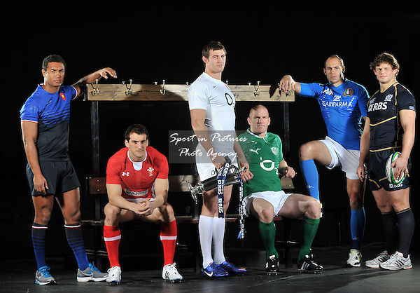 (L-R) Thierry Dusautoir of France, Sam Warburton of Wales, Tom Wood of England, Paul O'Connell of Ireland, Sergio Parisse of Italy and Ross Ford of Scotland. RBS 6 Nations Rugby Launch. The Hurlingham Club. London. 25/01/2012. MANDATORY Credit Garry Bowden/Sportinpictures - NO UNAUTHORISED USE - 07837 394578
