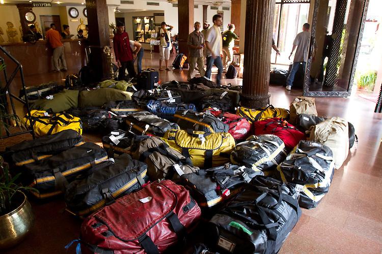Bags at the hotel in Kathmandu. Photo by Didrik Johnck
